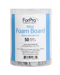 """ForPro Zebra Mini Foam Boards, 100/180 Grit, Double-Sided Manicure Nail File, 3.5"""" L x .5"""" W, 50-Count"""