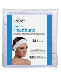 """ForPro Stretch Headband, Absorbent Disposable Spa Headbands, 2"""" W x 18"""" C, 48-Count"""