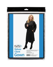 ForPro Deluxe Client Gown, Black, Lightweight, Crinkled Shiny Nylon, Extra-long w/ 2 Pockets